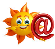 Sun Character with at the rate sign Royalty Free Stock Photo