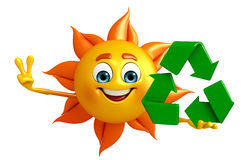 Sun Character With recycle icon Royalty Free Stock Photography