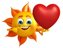 Sun Character With red heart Royalty Free Stock Images