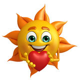 Sun Character With red heart Royalty Free Stock Image