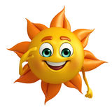 Sun character with Salute pose Royalty Free Stock Photo