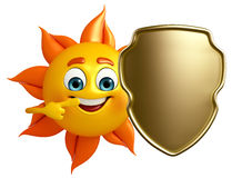 Sun Character With shield Royalty Free Stock Photography