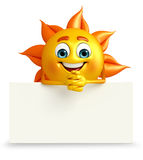 Sun Character With sign board Royalty Free Stock Image