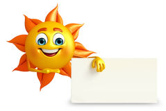 Sun Character With sign board Stock Photo