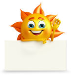 Sun Character With sign board Stock Photography