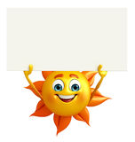 Sun Character With sign board Royalty Free Stock Images