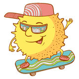Sun character on the skate Royalty Free Stock Photo