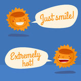 Sun character talking. Sun weather forecast charater isolated. vector illustration Royalty Free Stock Photo