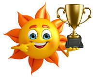 Sun Character With trophy Royalty Free Stock Photography