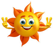 Sun Character With Victory pose Royalty Free Stock Photo