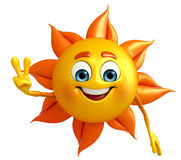 Sun Character With Victory pose Royalty Free Stock Images