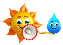 Sun Character With water drope Royalty Free Stock Image
