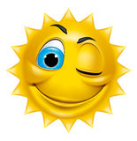 Sun character winking Royalty Free Stock Photography