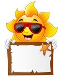 Sun characters cartoon with summer billboard. Illustration of Sun characters cartoon with summer billboard Royalty Free Stock Images