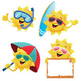 Sun Characters. Collection of cute sun characters Royalty Free Stock Photos