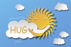 Sun che abbraccia nuvola Illustrazione di vettore stile di carta di arte illustrazione vettoriale