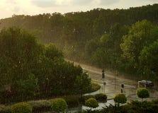 Sun che alza attraverso la pioggia Immagini Stock Libere da Diritti