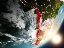 Sun che aumenta sopra il Cile da spazio Immagini Stock Libere da Diritti