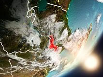 Sun che aumenta sopra il Malawi da spazio Immagine Stock