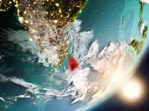 Sun che aumenta sopra lo Sri Lanka da spazio Fotografie Stock