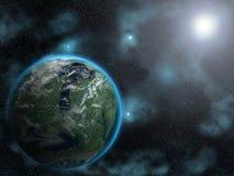 Sun che aumenta sul pianeta straniero Fotografia Stock