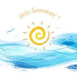Sun che mette dietro la spruzzatura dell'onda di acqua Fotografie Stock
