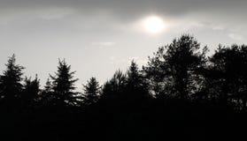 Sun che splende attraverso il cielo nuvoloso fotografia stock