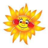 Sun cheerful, smiling. Vector character. Royalty Free Stock Photography