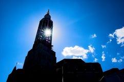 Sun and church Stock Photo