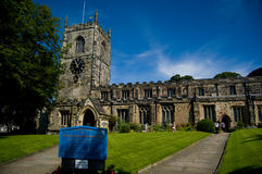 Sun on the church. The church and grounds at skipton in yorkshire Royalty Free Stock Photography