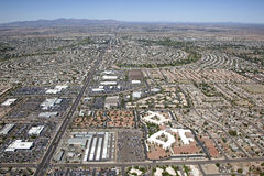 Sun City. Aerial view of Sun City, Arizona looking to the West from Peoria, Arizona stock photos