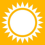 Sun clip-art, flat sun icon with edgy rays Royalty Free Stock Images