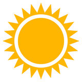 Sun clip-art, flat sun icon with edgy rays Stock Photos