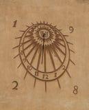 Sun clock. Close up view vector illustration