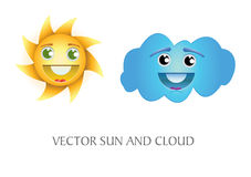 Sun and cloud. Illustration of a sun and cloud with a happy expression on their faces Stock Photos