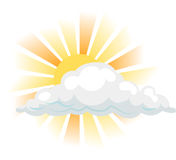 Sun and cloud. Sun peeking round a cloud royalty free illustration