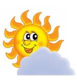 Sun on cloud. Color illustration Stock Photos