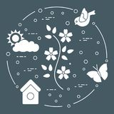 Sun, cloud, bird, flower, butterfly, birdhouse. Spring theme. Template for design, print royalty free illustration