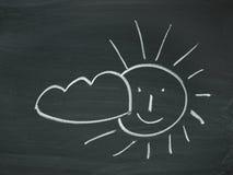 Sun Cloud blackboard chalk. Sun Cloud drawn on chalkboard black white Royalty Free Stock Photography