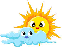 Sun and cloud cartoon Royalty Free Stock Photos