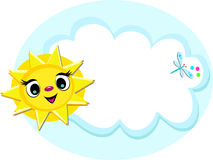 Sun with Cloud and Dragonflyl Royalty Free Stock Photography