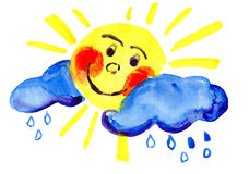 Sun with cloud, drawn by watercolors Stock Photography