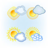 Sun Cloud icon collection Royalty Free Stock Photos