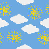 Sun and cloud icons on blue sky. Royalty Free Stock Photo