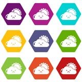 Sun and cloud icons set 9 vector. Sun and cloud icons 9 set coloful isolated on white for web Stock Photo