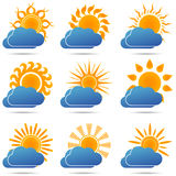 Sun and cloud icons set - vector illustration. Sun and cloud icons set, sunset, cloudy, sunrise, weather sign - vector illustration Royalty Free Stock Photography