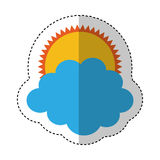 Sun with cloud isolated icon Stock Photo