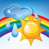 Sun, cloud, rain and rainbow. Vector illustration vector illustration