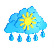 Sun, cloud and rain - weather forecast symbol Royalty Free Stock Photography