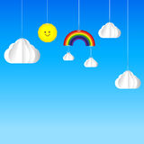 Sun cloud rainbow hanging on threads - sky background Royalty Free Stock Photography